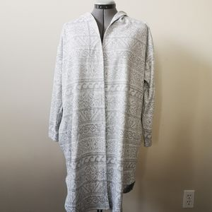 Tahari Long Heathered Grey Cardigan Hooded  L/XL